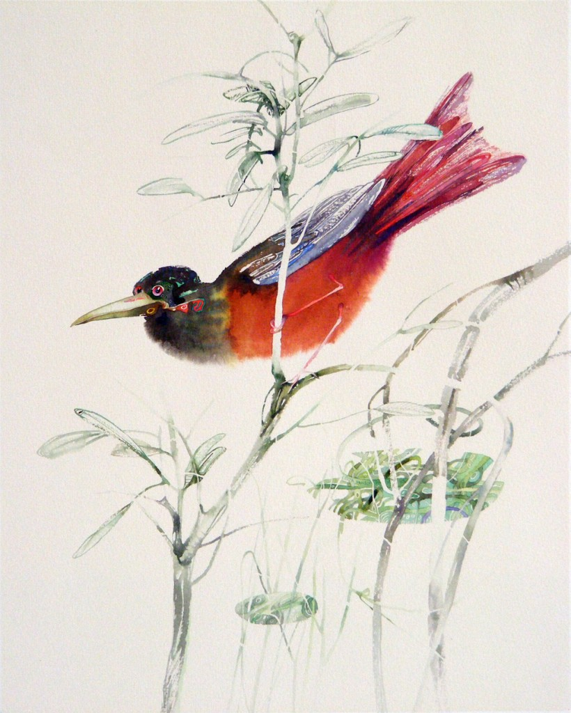 """Bird 1999"".  Technique: watercolor, paper, 38.5 x 30.7 cm.   1999 © Le-Za donski"