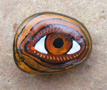 """Brow Eye"". Technique: stone from Baltic sea, ""Magic Paints for Talismans :)"", Le-Za © 2008"