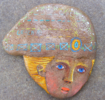 """Captain"". Technique: stone from Baltic sea, ""Magic Paints for Talismans :)"", Le-Za © 2008"
