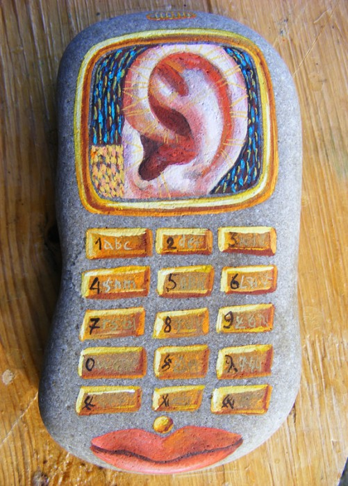 """Cellphone"". Baltic Sea Stone, 'Magic Paints for Talismans', Le-Za © 2008"