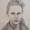 Panelės Gabijos akademinis portretas, pieštas Derwent pieštukais bei balta pastelė