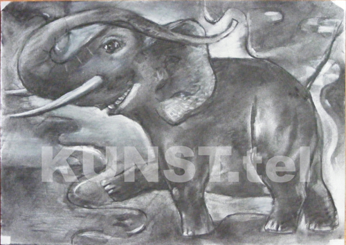 """Red Elephant"", paper 21 x 30 cm in size, charcoal"