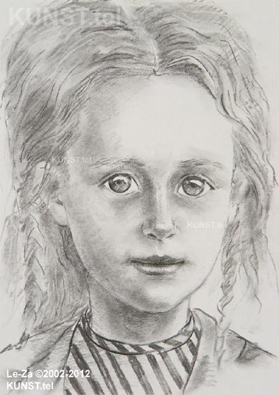Jaunos panelės portretas, pieštas anglimi, dailininkas-portretistas Le-Za