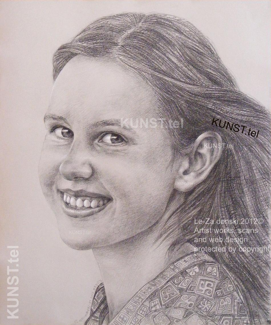 Panelės Kornelijos pieštuko portretas, dailininkas-portretistas Le-Za