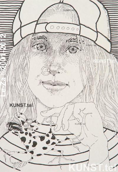 Panelės Vasarės portretas tušu, dailininkas-portretistas Le-Za