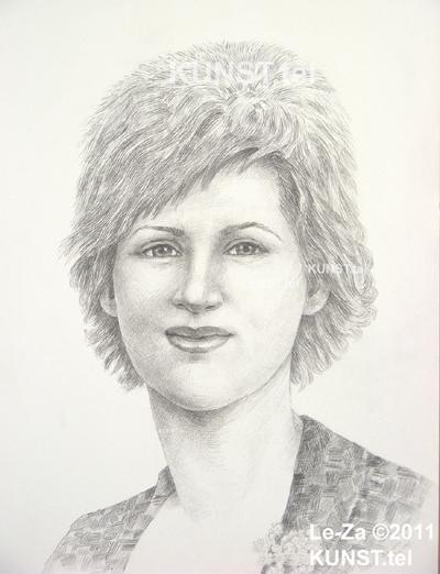 Panelės Vidos akademinis pieštuko portretas, dailininkas-portretistas Le-Za
