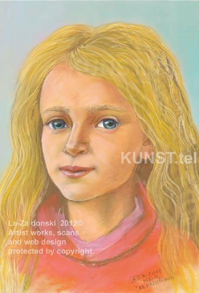 Nepažįstamos panelės portretas pastelė, dailininkas-portretistas Le-Za