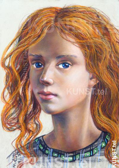 Raudonplaukės panelės portretas, dailininkas-portretistas Le-Za